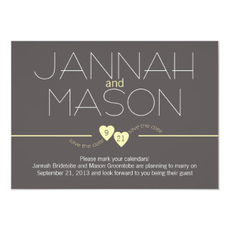 """Save the Date Yellow Hearts 5"""" X 7"""" Invitation Card"""