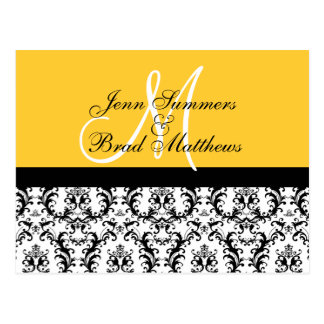 Save the Date Yellow Monogram Damask Card