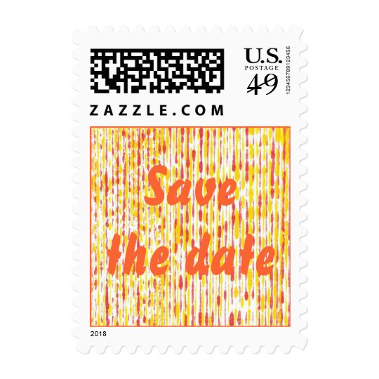 Save the date, Yellow Orange Rain Wedding Stamps