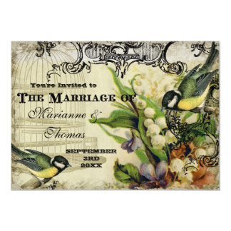 Save the Date, Yellow Song Bird Cage Swirl Floral 5x7 Paper Invitation Card