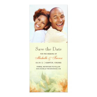 Save the Date - Yellow Tangerine Floral Photo Card