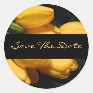 Save The Date Yellow Tulip Wedding Sticker Seal