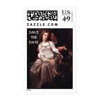 Save The Date Young Couple Isolde and Tristan Postage Stamp
