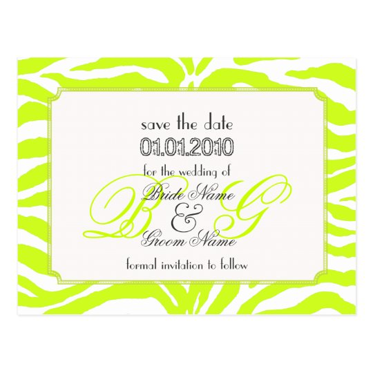 Save the Date, zebra + monogram Postcard
