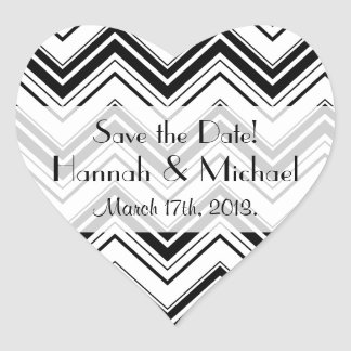 Save the Date - Zigzag (Chevron) - White Black Heart Sticker