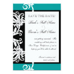"""Save the Dates - Black White Teal Heart Damask 5"""" X 7"""" Invitation Card"""