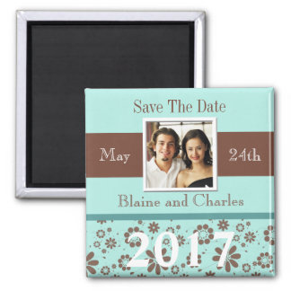 Save The Dates Blue Brown Personalized 2017 Magnet