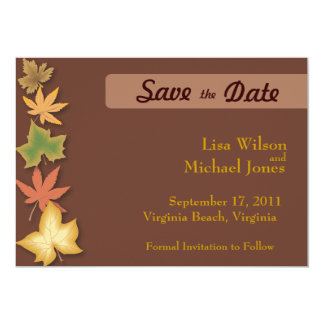 Save the Dates Leaves Card