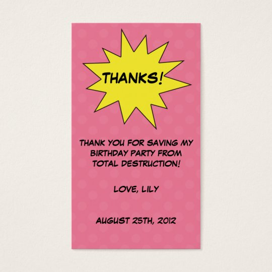 Save the Day Superhero Custom Birthday Favor Tags