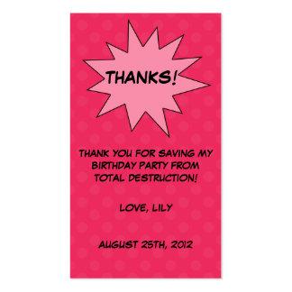 Save the Day Superhero Custom Birthday Favor Tags Business Card