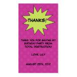Save the Day Superhero Custom Birthday Favor Tags Business Cards