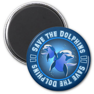 Save the Dolphins 2 Inch Round Magnet