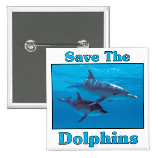Save the Dolphins 2 Inch Square Button