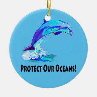 Save the Dolphins: Protect our Oceans Ceramic Ornament