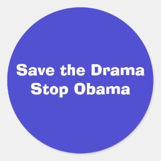 Save the DramaStop Obama Classic Round Sticker