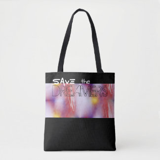 Save the Dreamers Abstract Digital Art Black Tote