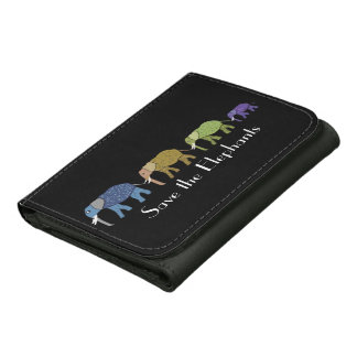 Save the Elelphants Leather Tri-fold Wallet