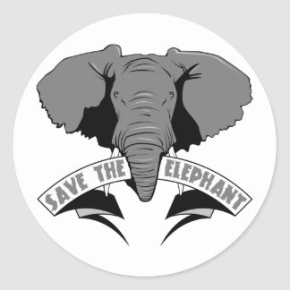 Save The Elephant Classic Round Sticker