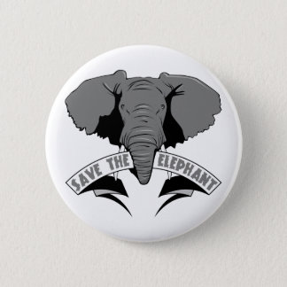 Save The Elephant Pinback Button