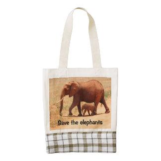 Save The Elephant Zazzle HEART Tote