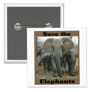 Save the Elephants 2 Inch Square Button