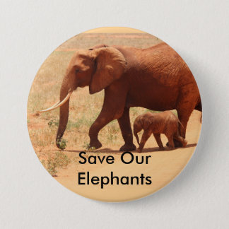 Save The Elephants, 3 Inch Round Button