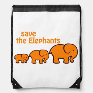 """Save the Elephants"" Bag Cinch Bags"