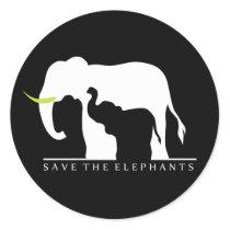 Save the Elephants (black) Classic Round Sticker