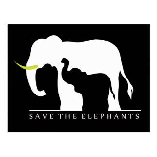 Save the Elephants (black) Postcard