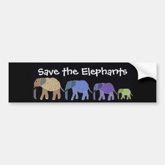 Save the Elephants Bumper Sticker Car Bumper Sticker