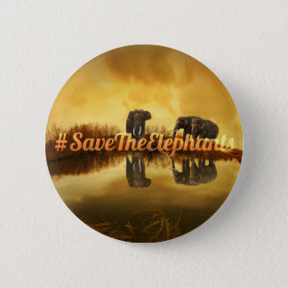 Save The Elephants Design Pinback Button