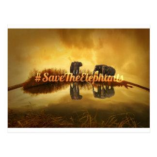 Save The Elephants Design Postcard