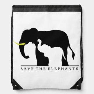Save the Elephants Drawstring Backpack