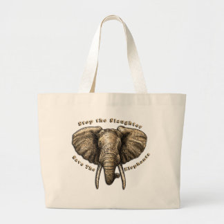 Save the Elephants Graphic Large Tote Bag
