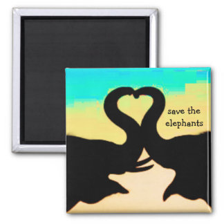 Save the Elephants heart trunks 2 Inch Square Magnet