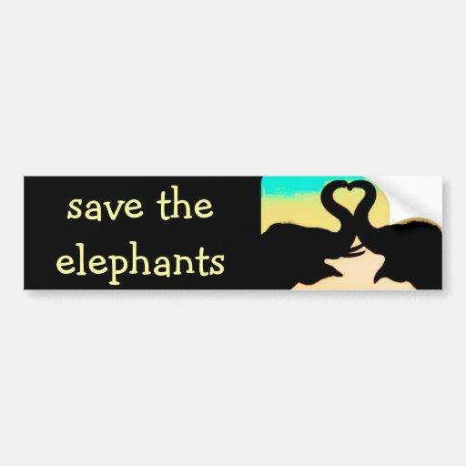 Save The Elephants Heart Trunks Bumper Sticker Zazzle