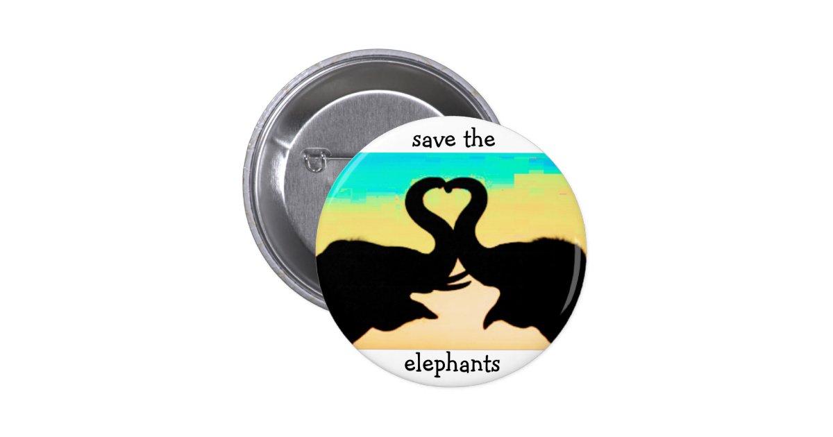 Save the elephants heart trunks button zazzle for Elephant heart trunk