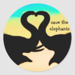 Save the Elephants heart trunks Round Stickers