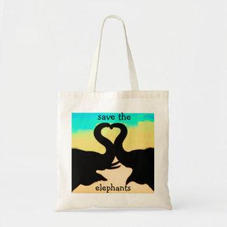 Save the Elephants heart trunks Tote Bag