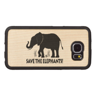 Save the Elephants in Silhouette Wood Phone Case