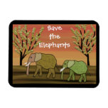 Save the Elephants Sunset  Premium Magnet