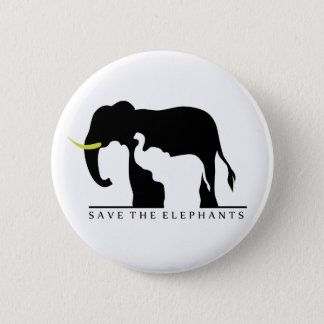 Save the Elephants (white) Button