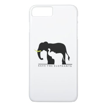 Beach Themed Save the Elephants (white) iPhone 8 Plus/7 Plus Case