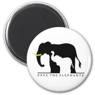 Save the Elephants (white) Magnet