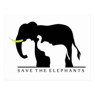Save the Elephants (white) Postcard