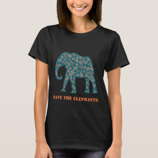 Save the Elephants Womens Custom Black T-shirt