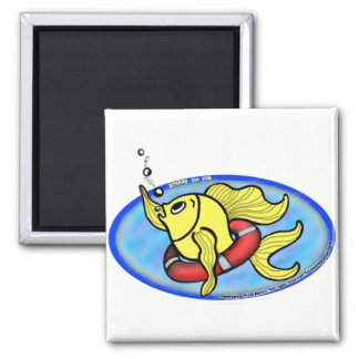 Save The Fish 2 Inch Square Magnet