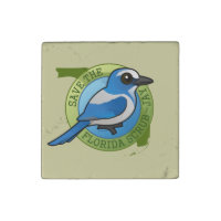 Save the Florida Scrub-Jay Primed Marble Stone Magnet