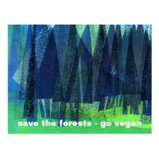 save the forests - go vegan postcard