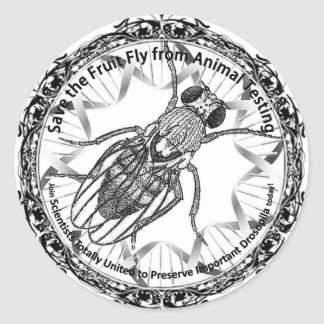 Save the fruit fly classic round sticker
